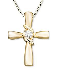 Diamond Cross Pendant in 14k Yellow or White Gold (1/10 ct. t.w.)
