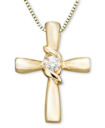 Sirena diamond cross pendant in 14k yellow or white gold 110 ct sirena diamond cross pendant in 14k yellow or white gold 110 ct mozeypictures Gallery