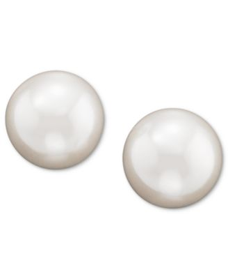 Sterling Silver Plated Glass Pearl Stud Earrings (8mm)