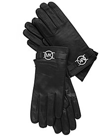 MICHAEL Michael Kors Leather with Logo Gloves with Touch Tips