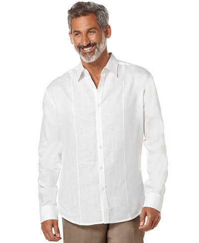 Cubavera Tucked Long-Sleeve 100% Linen Shirt - Casual Button-Down ...