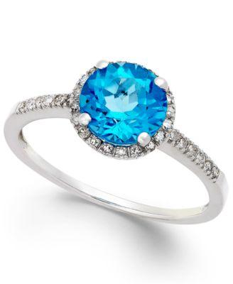 Blue Topaz (1-1/2 ct. t.w.) and Diamond (1/8 ct. t.w.) Ring in 14k White Gold