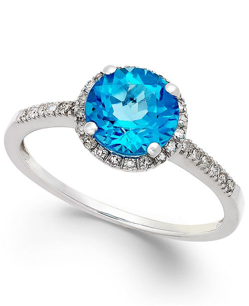 Macy's Blue Topaz (1-1/2 ct. t.w.) and Diamond (1/8 ct. t.w.) Ring in 14k White Gold