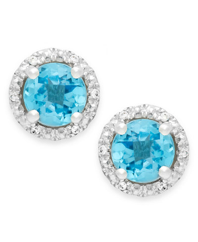 Blue Topaz (1-3/4 ct. t.w.) and Diamond Accent Halo Stud Earrings in 14k White Gold