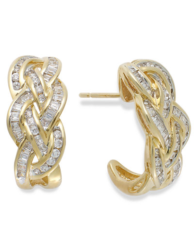 Wrapped in Love™ Diamond Woven Hoop Earrings in 10k Gold (1 ct. t.w.), Created for Macy's