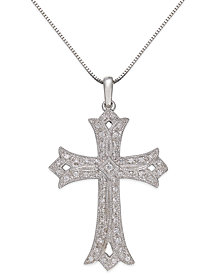 Diamond Vintage Cross Pendant Necklace in Sterling Silver (1/4 ct. t.w.)
