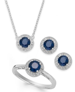 Sapphire (2-1/2 ct. t.w.) and White Topaz (1/2 ct. t.w.) Jewelry Set in Sterling Silver -  Macy's