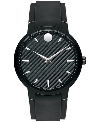 movado s swiss gravity black textured rubber