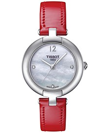 Women's Pinky Diamond Accent Red Leather Strap Watch 28mm T0842101611600