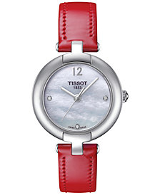 Tissot Women's Pinky Diamond Accent Red Leather Strap Watch 28mm T0842101611600
