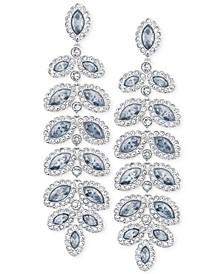 Rhodium-Plated Crystal Drop Earrings