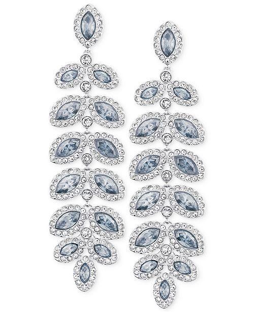 Rhodium-Plated Crystal Drop Earrings