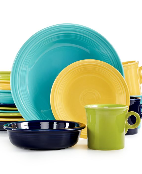 Fiesta Mixed Cool Colors 16-Piece Set, Service for 4, Multi, Size: 4 PL SETS