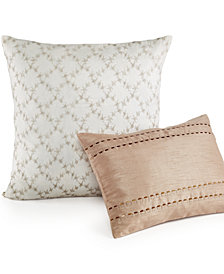 "Calvin Klein 18"" Square Embroidered Lattice Decorative Pillow"