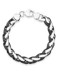 Sutton by Rhona Sutton Men's Black-Tone Stainless Steel Chunky Chan Bracelet