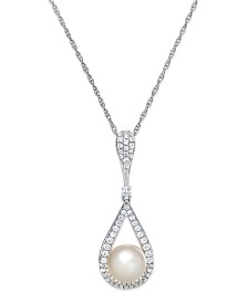 Cultured Freshwater Pearl (8mm) and Diamond (1/3 ct. t.w.) Pendant Necklace in 14k White Gold