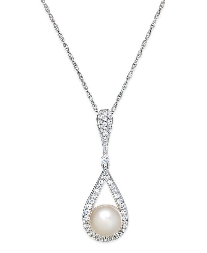 Macy's - Cultured Freshwater Pearl (8mm) and Diamond (1/3 ct. t.w.) Pendant Necklace in 14k White Gold