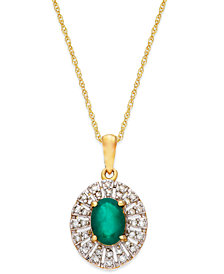 Emerald (9/10 ct. t.w.) and Diamond (1/8 ct. t.w.) Pendant Necklace in 14K Gold