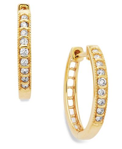Diamond Mini Hoop Earrings in 10k White or Yellow Gold (1/6 ct. t.w.)