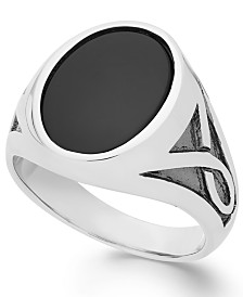 Men's Onyx Oval Ring in Sterling Silver (3-1/3 ct. t.w.)