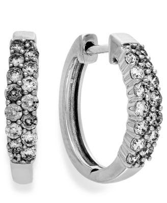 Diamond Two-Row Hoop Earrings in 14k White Gold (1/2 ct. t.w.)