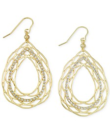 Crystal Openwork Teardrop Earrings in 18k Gold over Sterling Silver
