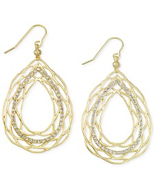 Simone I. Smith Crystal Openwork Teardrop Earrings in 18k Gold over Sterling Silver