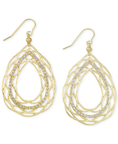 SIS by Simone I. Smith Crystal Openwork Teardrop Earrings in 18k Gold over Sterling Silver