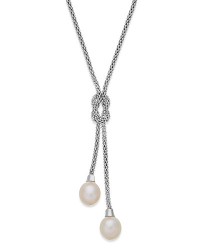 Cultured Freshwater Pearl Lariat Knot Necklace in Sterling Silver (7-1/2mm)