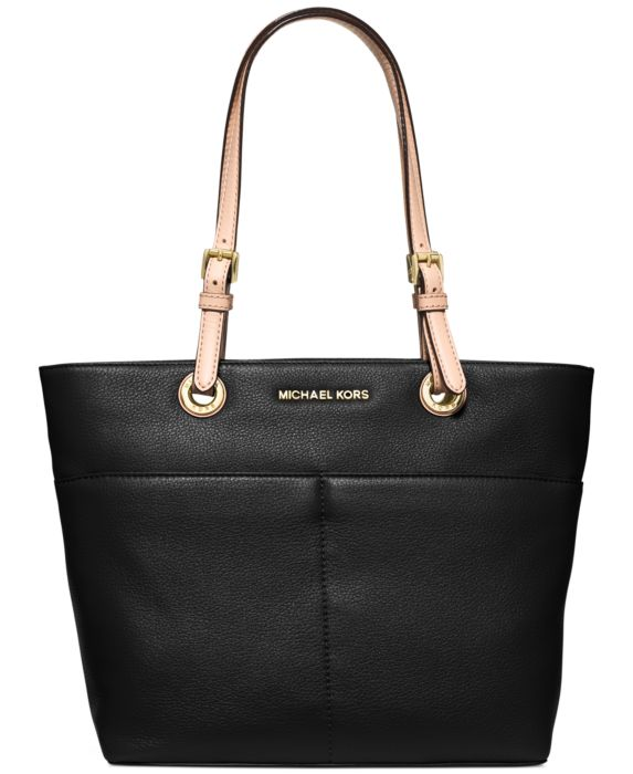 MICHAEL Michael Kors Jet Set Soft Leather Top Zip Tote, Black, Size: N/S