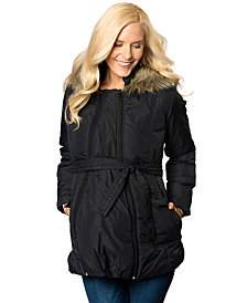 Motherhood Maternity Faux-Fur-Trim Expandable Puffer Coat