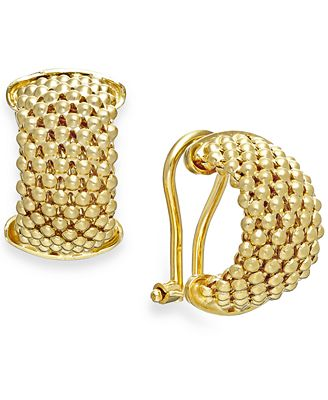 Italian Gold Mesh Hoop Earrings in 14k Gold Vermeil over Sterling