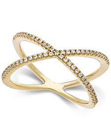 Swarovski Zirconia X-Ring in 14k Gold
