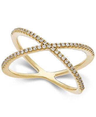 Arabella Swarovski Zirconia X Ring in 14k Gold Rings Jewelry