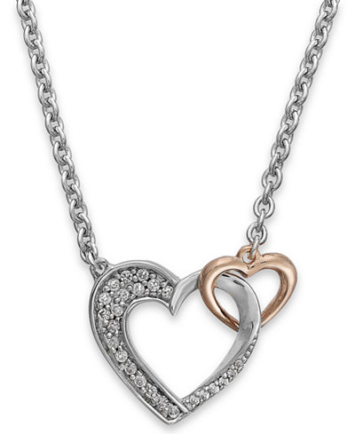 Diamond Double Heart Pendant in Sterling Silver and 14k Rose Gold (1/5 ct. t.w.)