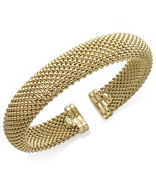 Italian Gold Mesh Bangle Bracelet in 14k Gold over Sterling Silver
