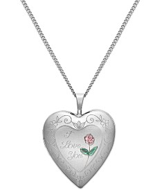 I Love You Heart Locket Necklace in Sterling Silver
