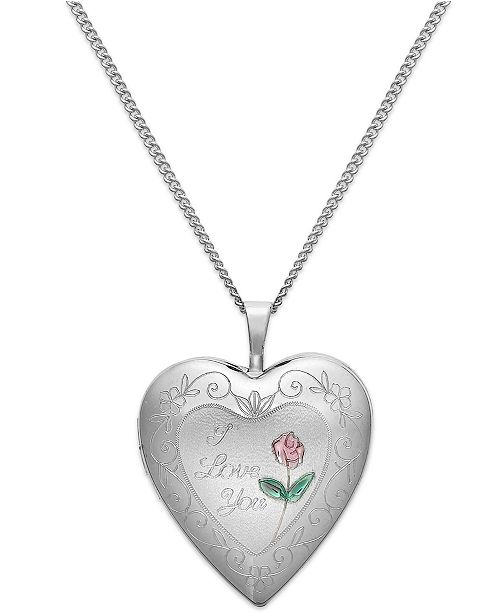 Macy S I Love You Heart Locket Necklace In Sterling Silver