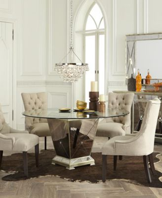 "Marais Dining Room Furniture, 5 Piece Set (54"" Mirrored Dining Table and 4 Side Chairs)"