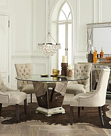 "Marais Dining Room 5 Piece Set (54"" Mirrored Dining Table and 4 Side Chairs)"