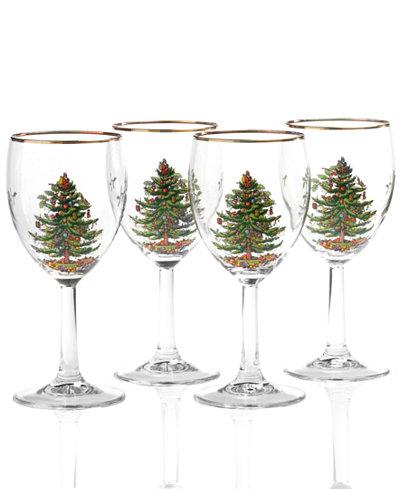 Spode glassware set of 4 christmas tree wine glasses for Martha stewart christmas wine glasses
