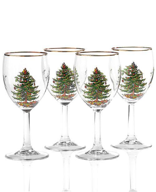 Glassware, Set of 4 Christmas Tree Wine Glasses - Spode Glassware, Set Of 4 Christmas Tree Wine Glasses - Glassware