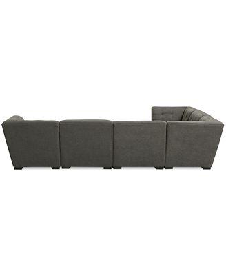 Furniture Closeout Roxanne Fabric 6 Piece Modular Sectional Sofa
