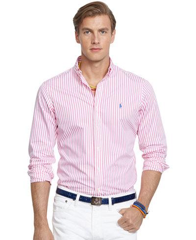 Polo ralph lauren men 39 s long sleeve striped poplin shirt for Polo ralph lauren casual button down shirts