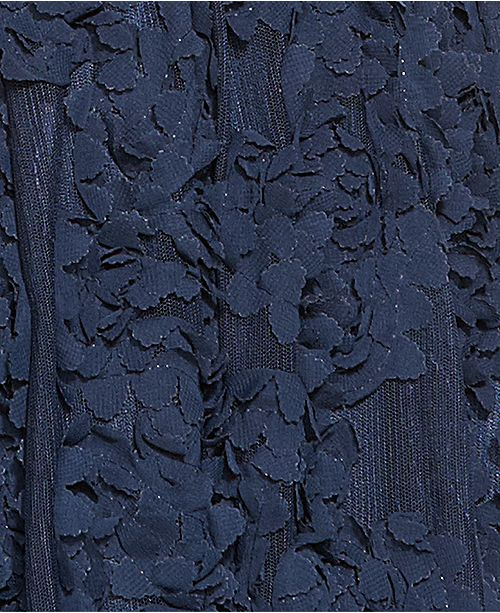 Papell Navy Illusion Gown Adrianna Floral Embroidered 4X0wvxXdq