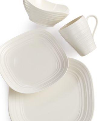 Dinnerware Swirl White Square 4 Piece Place Setting  sc 1 st  Macy\u0027s & Mikasa Dinnerware Swirl Square White Collection - Dinnerware ...