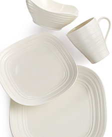 Mikasa Dinnerware, Swirl White Square 4 Piece Place Setting