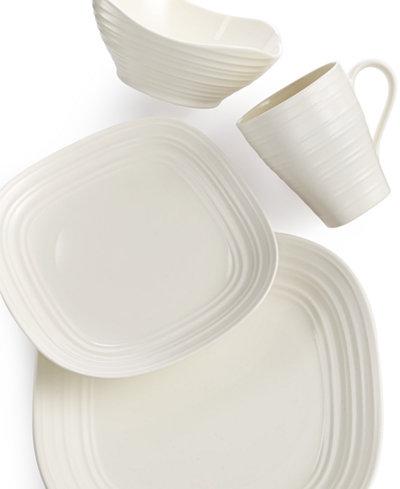 Mikasa Dinnerware, Swirl White Square 4 Piece Place Setting ...