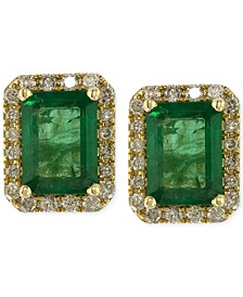 Brasilica by EFFY® Emerald (1-9/10 ct. t.w.) and Diamond (1/4 ct. t.w.) Stud Earrings in 14k Gold, Created for Macy's
