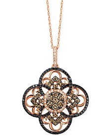 Diamond Clover Pendant Necklace in 14k Rose Gold (7/8 ct. t.w.), Created for Macy's